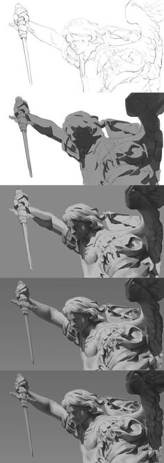 ArtStation - Value study , ㅇㅇ Joo painting Digital Painting Tutorials, Digital Art Tutorial, Art Tutorials, Digital Paintings, Concept Art Tutorial, Drawing Tutorials, Gravure Illustration, Digital Illustration, Character Illustration
