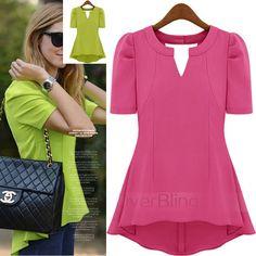 Fashion Women Chiffon Shirts Slim Short Sleeve for Girls V-neck Summer $17.88