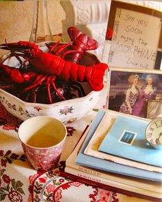 """""""See you soon. Enjoy the MORPHINE."""" framed Lucien Freud get well note on Nicky Haslam's side table"""