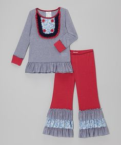http://www.zulily.com/invite/vhanson979 Take a look at this Navy Stripe Ruffle Bib Tunic & Pants - Toddler & Girls by Freckles + Kitty on #zulily today!