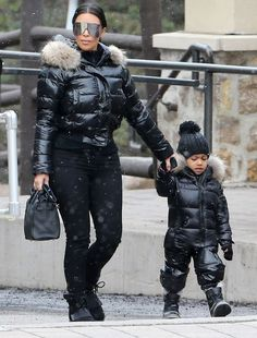 Kim on the Kardashian family holiday along with North
