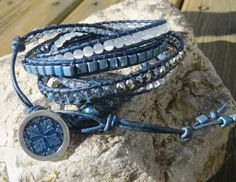 Denim and White Leather 5 Wrap Bracelet by ToZenAndBack on Etsy