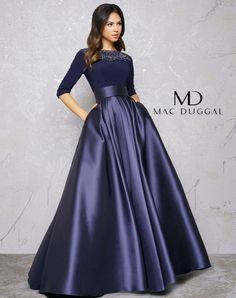 Gorgeous Spandex & Satin Bateau Neckline Length Sleeves A-line Evening Dress With Beadings & Pockets - Prom Dresses Design Evening Gowns With Sleeves, A Line Evening Dress, Prom Dresses With Sleeves, Formal Evening Dresses, Ball Dresses, Ball Gowns, Bridesmaid Dress Sleeves, Long Gown With Sleeves, Long Evening Gowns