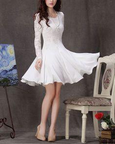 White lace dress Long Sleeve Fitandflare Chiffon by Fashiondress1, $58.99 - me want!!