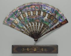 "Folding fan  ""Mandarin"" fan  Chinese for export, Qing Dynasty, 1850–60   China  Dimensions  Overall: 28cm (11in.) Other (open maximum): 50cm (19 11/16in.)  Medium or Technique  Painted paper; ivory; silk; lacquer.  MFA museum, boston."