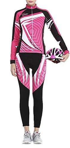 ChezMax Womens Fleece Thermal Long Sleeve Cycling Bike Jersey and Padded Pants Candy Pink XL *** You can find more details by visiting the image link.