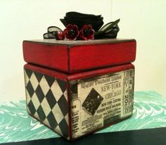 Burlesque inspired decorative box  altered box  by PeriwinkleAlley, $12.50
