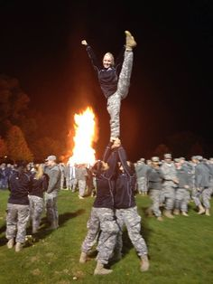West Point Army Cadets decided some stunting was needed at the Army Pep Rally Bon Fire. Too cool!