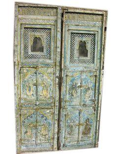 RARE ANTIQUE JHAROKA PAIR HAND CARVED PATINA DOORS 72x20