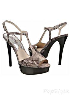 Michael Kors Felicia T Strap Leather Python Print Heels