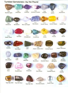 Tumbled and Polished Stones and Crystals %u2013 Great images of different types of tumbled stones and their names.