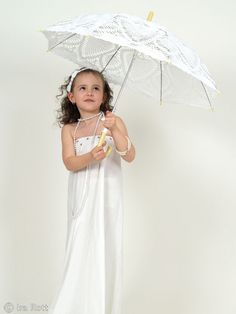 Handmade crocheted kids wedding lace parasol.  Colors:  White, Black, Blue and Biege      $ 395.00 CAD