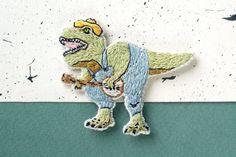 Dinosaur Patch, Godzilla Patch Hand Embroidery - T-Rex playing on Banjo - 90s Dinosaur, Dinosaur Gift, Banjo lover, Music jewelry, Music