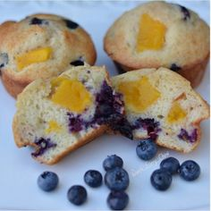Paleo Mango Blueberry Muffins with Vegan option  by @worth_every_chew  1.5 cups Macadamia Nut Flour (or Almond Meal/Flour) 1/2 cup Coconut Flour 2 teaspoons Cinnamon  ½ tsp baking soda 1 tsp grain free Baking Powder 2 Whole Eggs (pasture raised is the best) [for Vegan simply use 2 Flax or Chia eggs] 4 Tablespoons Ghee (or coconut oil) 1 cup Coconut Milk  2 teaspoons Vanilla Extract 2 Tablespoons Maple Syrup or Honey 1/2 cup Organic Blueberries 1/2 cup Organic cubed Mango  Preheat oven to ...