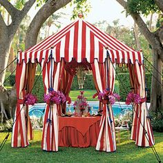 Red stripped wedding #tent #awning