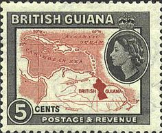 British Guiana--some of my favorite years growing up spent there Rare Stamps, Old Stamps, British Guiana, My Favorite Year, Crown Colony, Commonwealth, Cartography, Stamp Collecting, Vintage Signs