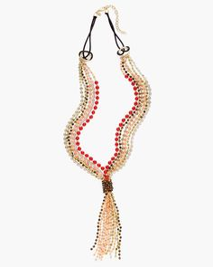 Kalani Lariat Necklace $69. Mixed-media beading speaks a colorful language in this richly tasseled necklace with a gorgeous delivery of shimmer.  Other, glass, acrylic, metal and textile.