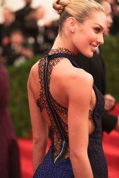 Candice Swanepoel in  Rag & Bone | Met Gala 2012 ... The back of this dress was inspired by Elsa Schiaparelli's skeleton dress. Nice touch rag & bone.