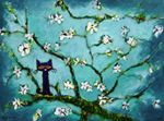 Van Gogh- Cherry Blossoms with maybe a cat, bird, butterfly, or bee. White Cats, Black Cats, Black Kitty, Dragon Cat, Cat Paws, Kitty Cats, Art Van, All About Cats, Whimsical Art