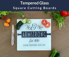 Our Personalized Tempered Glass Square Cutting Boards add a beautiful and unique accent to every kitchen. Perfect for weddings, anniversaries, birthdays, parent Custom Cutting Boards, Personalized Cutting Board, Laser Engraving, Kitchen Decor, Birthdays, Christmas Gifts, Seasons, Tableware, Glass