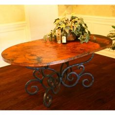 Alexander Oval Copper Top Dining Table by Mathews & Company | Humble Abode