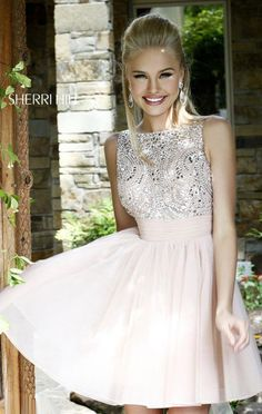Beaded Blush V-Back Sherri Hill 11032 Chiffon 2015 Short A-Line Prom Dresses