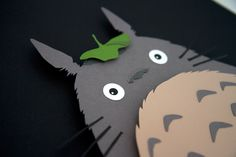 Totoro - Studio Ghibli - 12x16 hand cut 3D paper craft by willpigg on Etsy https://www.etsy.com/listing/94518123/totoro-studio-ghibli-12x16-hand-cut-3d