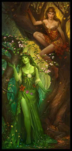 DRYADS live as long as their tree does, which can be a very long time. But when it dies, they perish too — so if you cut down a tree you may hear its spirit screaming.