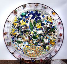 Large mosaic called Miss Haversham's Tea Party by Summer Brook-Jones.