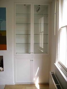 glazed alcove cabinet with glass shelves Alcove Ideas Living Room, Living Room Built Ins, Living Room Storage, Alcove Storage, Alcove Shelving, Wood Shelves, Alcove Cupboards, Built In Cupboards, Glass Shelves In Bathroom