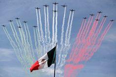 En el centro de la franja blanca se encuentra el Escudo Nacional de México, y consiste en un águila mexicana devorando a una serpiente que mantiene sostenida además de con su pico, con la garra de su pata derecha, el águila se encuentra posada sobre un nopal situado en un islote sobre el lago de Texcoco representado por un glifo náhuatl. El Escudo Nacional de México está basado en la leyenda azteca.