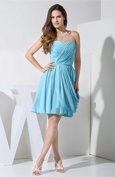 Light Blue Black Dress - Elegant Column Sweetheart Chiffon Knee Length Pleated…
