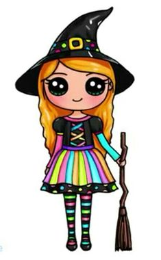 Draw so Cute broom Kawaii Disney, 365 Kawaii, Cute Kawaii Girl, Kawaii Art, Cute Drawings Of People, Cute Little Drawings, Cute Girl Drawing, Kawaii Halloween, Halloween Halloween