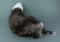Silver Fox Tail Keychain Real fox tail Bag Charm by EvaStudioArt