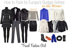"How to Pack for Europe's Budget Airlines-They're not kidding when they say ""one bag""-this includes your purse..I've had to embarrassingly unzip, toss & repack some things in the Orly airport to fit the ""one bag"" mandate...This is a MUST READ ladies!"