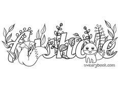 Asshole - Swear Words Coloring Page from the Sweary Coloring Book - Swearing Colouring Pages for Adults