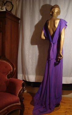 Glam Angular 1940s Bias Cut Rayon Evening Gown in Shades of Purple Sweep Train