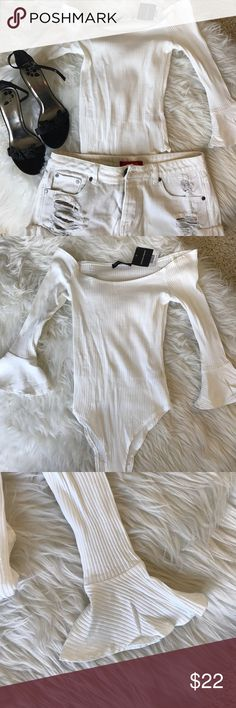 BNWT off white stretch bodysuit 💥Reposh💥 Had to repost this adorable baby because it was just too small for me. Off the shoulder, ribbed, crisp cream color! Length was fine but too small in chest. For reference, I am 36c. Fairly firm on price; still giving discount from what I paid. Bundle for discount! Tops