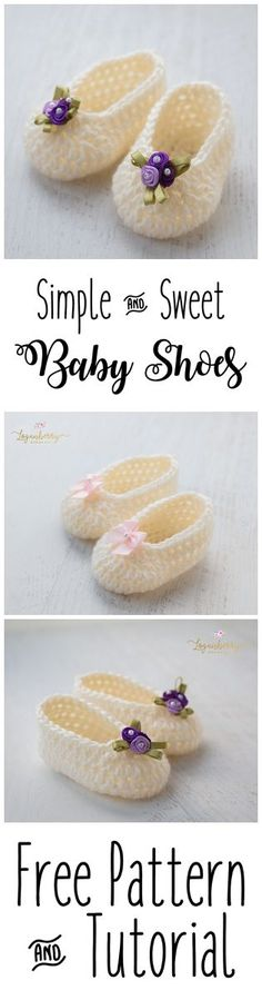 Simple And Sweet Crochet Baby Shoes By Susie - Free Crochet Pattern - (loganberryhandmade)