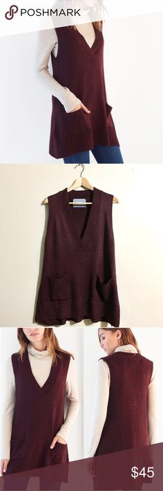 "COIN 1804 Anthropologie Hi-Lo Sweater Pocket Vest COIN 1804 Anthropologie Hi-Lo V-Neck Sweater Pocket Vest • NWOT - Size Small/Medium (It's tagged as a Small but would also fit a size Medium). The color is called ""Maroon"". Gorgeous sweater I bought on a whim only to find practically the exact same one already in my closet (no wonder I liked it!). It's in pristine condition - I never even wore it. Per website ""Two toned Knit Fabrication with Hi Lo V-neck Pocket Sweater Vest. Fabric: 35%…"
