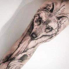 Image result for wolf inner arm tattoo