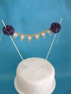 Cake topper rustic wedding Burlap Purple Mr & by Hartranftdesign, $25.00