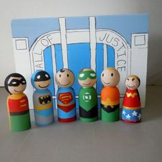 Super Hero Friends Wooden Peg Doll Set with Headquarters Display Storage Case. $75.00, via Etsy.