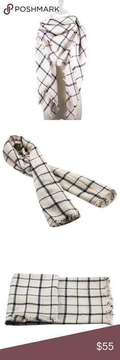 """Greyscale Ultra Plush Plaid Blanket Scarf A huge, cuddly scarf perfect for sweater weather in a neutral, versatile grey color palette. Wear as a wrap, shawl, scarf, or a small throw blanket.  55"""" x 55""""  ❌ Sorry, no trades.  fairlygirly fairlygirly Accessories Scarves & Wraps"""