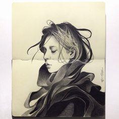 portrait drawing sketchbook pages Illustration Sketches, Art Sketches, Art Drawings, Sketchbook Inspiration, Art Sketchbook, Art Graphique, Looks Cool, Ink Art, Traditional Art
