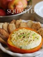 Jenny Steffens Hobick :: Goat Cheese Squash Dip : cook the squash for the dip, then return the dip to half of the squash to serve
