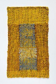 "Sheila Hicks (1934-), Sentinel des Sentiments, 2016. Linen and silk. 9-5/8"" H x 5-3/4"" W. (Photograph: Cristobal Zanartu)"