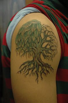 willow tree tattoo - Google Search  I DON'T like the leaves but I like the exposed roots...