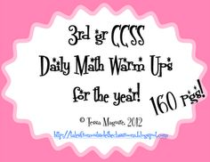 Common Core math warm ups that can be used for morning work or homework for the entire year in third grade!