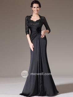 Sheath / Column V-neck Hand-Made Flower 3/4-Length Floor-length Chiffon Prom Dresses / Evening Dresses (SZ0313403) - MicWell.com